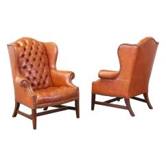 High Back Tufted Chair Covers For Sale Brass Tacked Leather Wing Chairs At 1stdibs