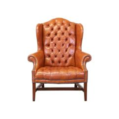 High Back Tufted Chair Swivel King Living Brass Tacked Leather Wing Chairs At 1stdibs