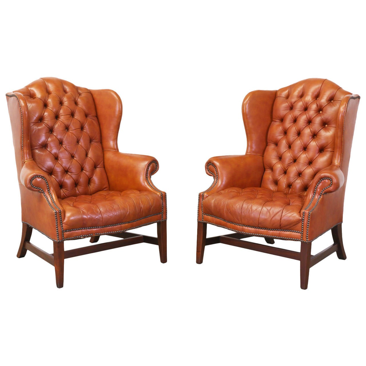 High Back Wing Chair Brass Tacked Tufted Leather High Back Wing Chairs At 1stdibs