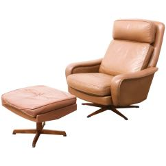 Leather Chair Ottoman Set Clearance Beach Chairs Danish Modern Lounge With At 1stdibs
