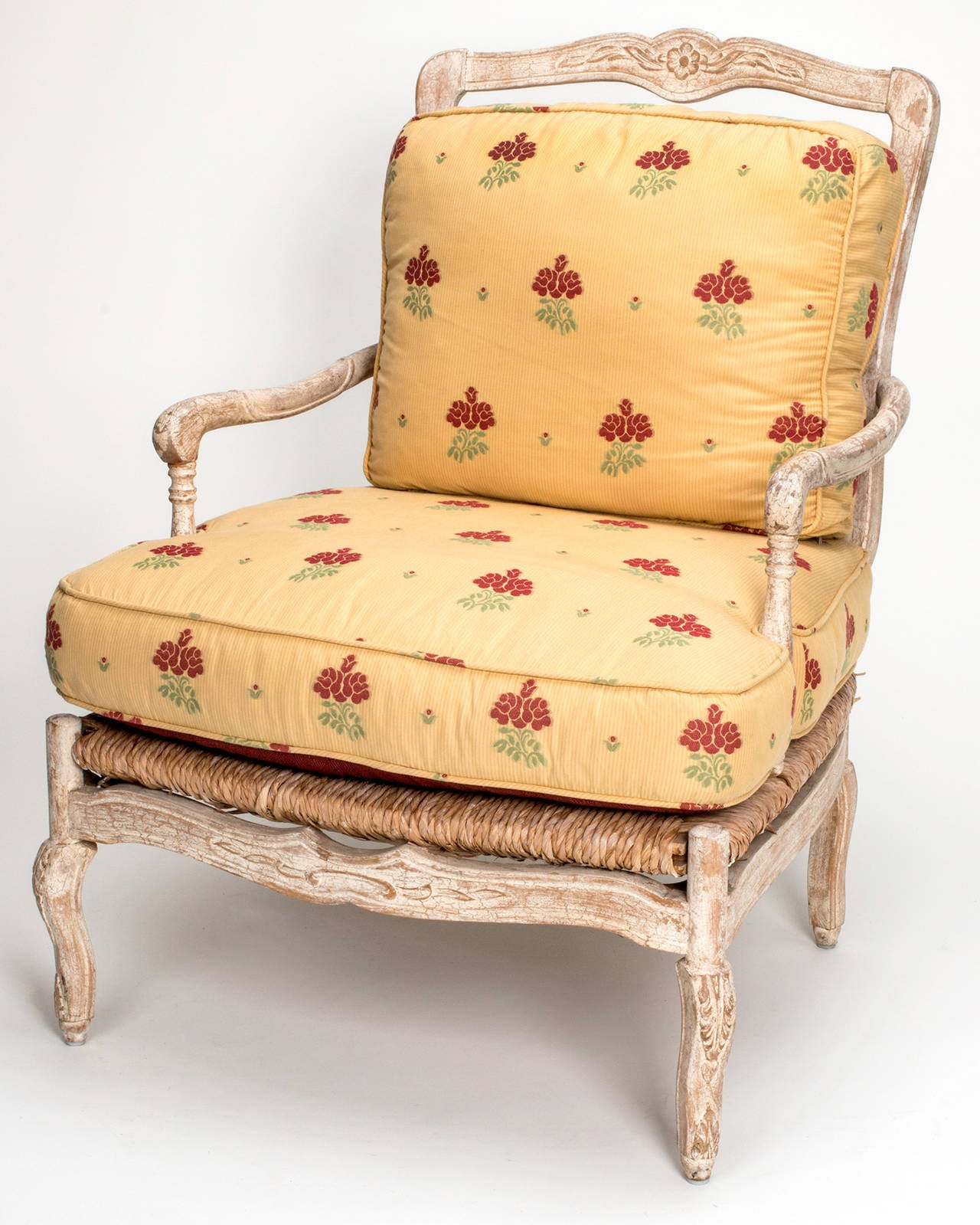 french provincial chair and ottoman ameristep blind 1920s painted rush seat armchair for