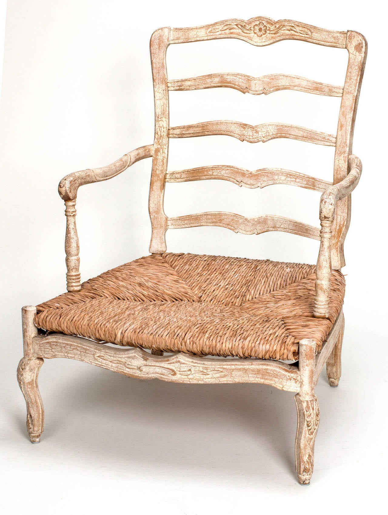 how to rush a chair overstock accent 1920s french painted seat armchair and ottoman for