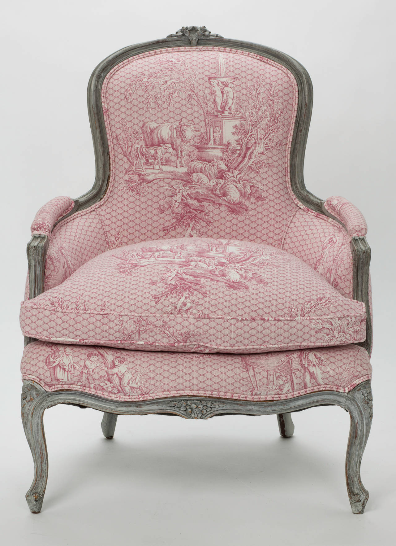 Toile Chair French Painted Armchairs Pair At 1stdibs