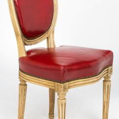 Red Chairs For Sale Makeup Vanity Pair Of French Louis Xvi Style Leather 19th