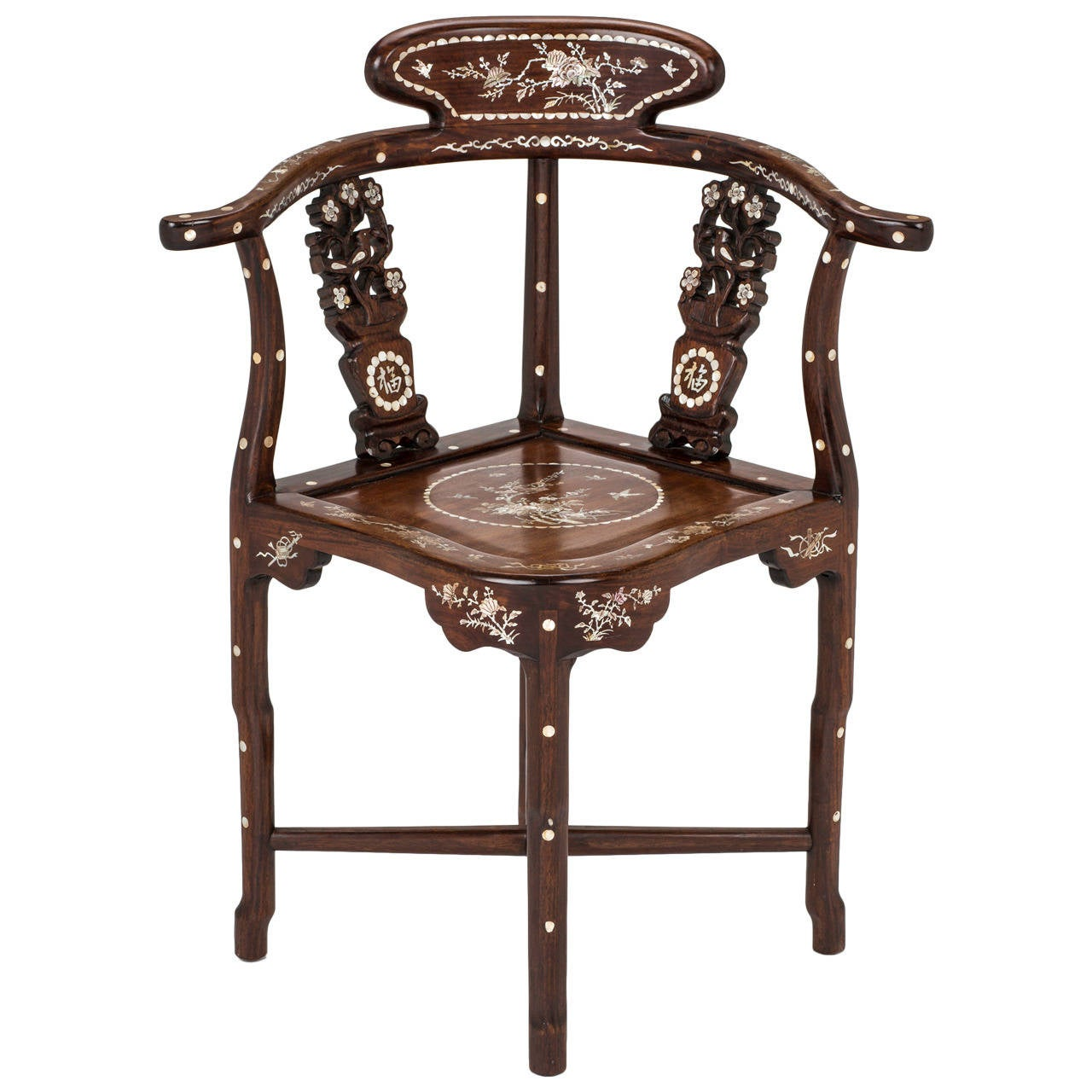 a chair for my mother hanging cocoon four rosewood of pearl inlay corner at 1stdibs