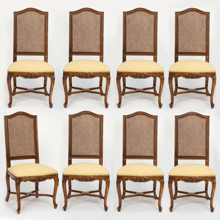antique cane dining room chairs desk chair vs exercise ball french tall high back set of 8 at 1stdibs wonderful amply sized for comfort upholstered seat