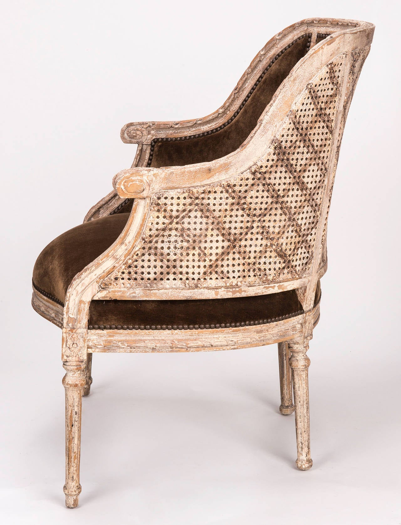 cane barrel chair office zero gravity french back at 1stdibs