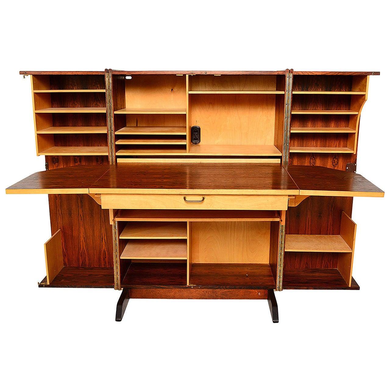 Rosewood Hideaway Desk Cabinet For Sale at 1stdibs