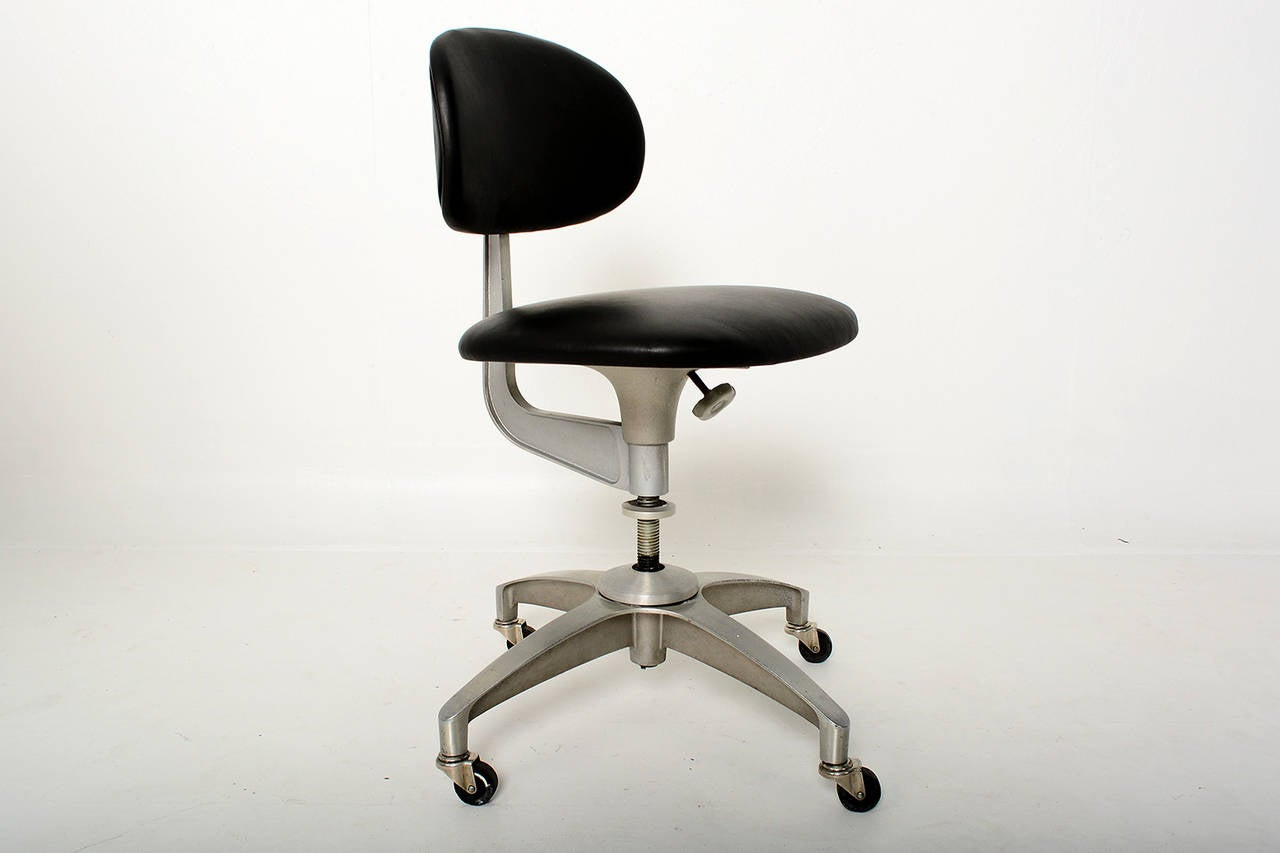 office chair very black spandex covers for sale aluminum and leather industrial at 1stdibs