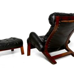 Black Leather Club Chair And Ottoman Inexpensive Folding Chairs Scandinavian Lounge In Rosewood