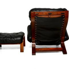 Black Leather Club Chair And Ottoman Alera Elusion Review Scandinavian Lounge In Rosewood