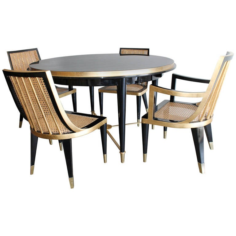 mexican dining room table and chairs replacement bungee cord for zero gravity chair gold leaf black lacquer set by arturo pani, mexico city, 1950 at 1stdibs