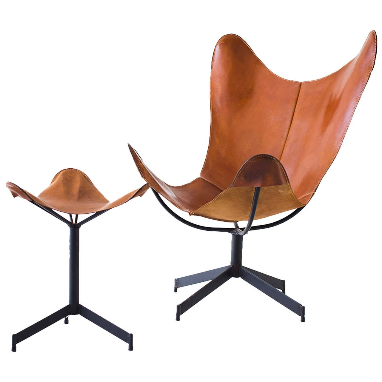 sling chairs for sale toddler wooden leather chair and ottoman leathercrafter at 1stdibs