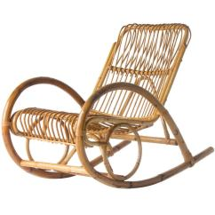 Rocking Chair Ottoman Cushions Reading Lounge Franco Albini Style Wicker At 1stdibs