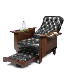 Reclining Gaming Chair Office Lounge And Ottoman Early 20th Century Mahogany Glenister S Patent English