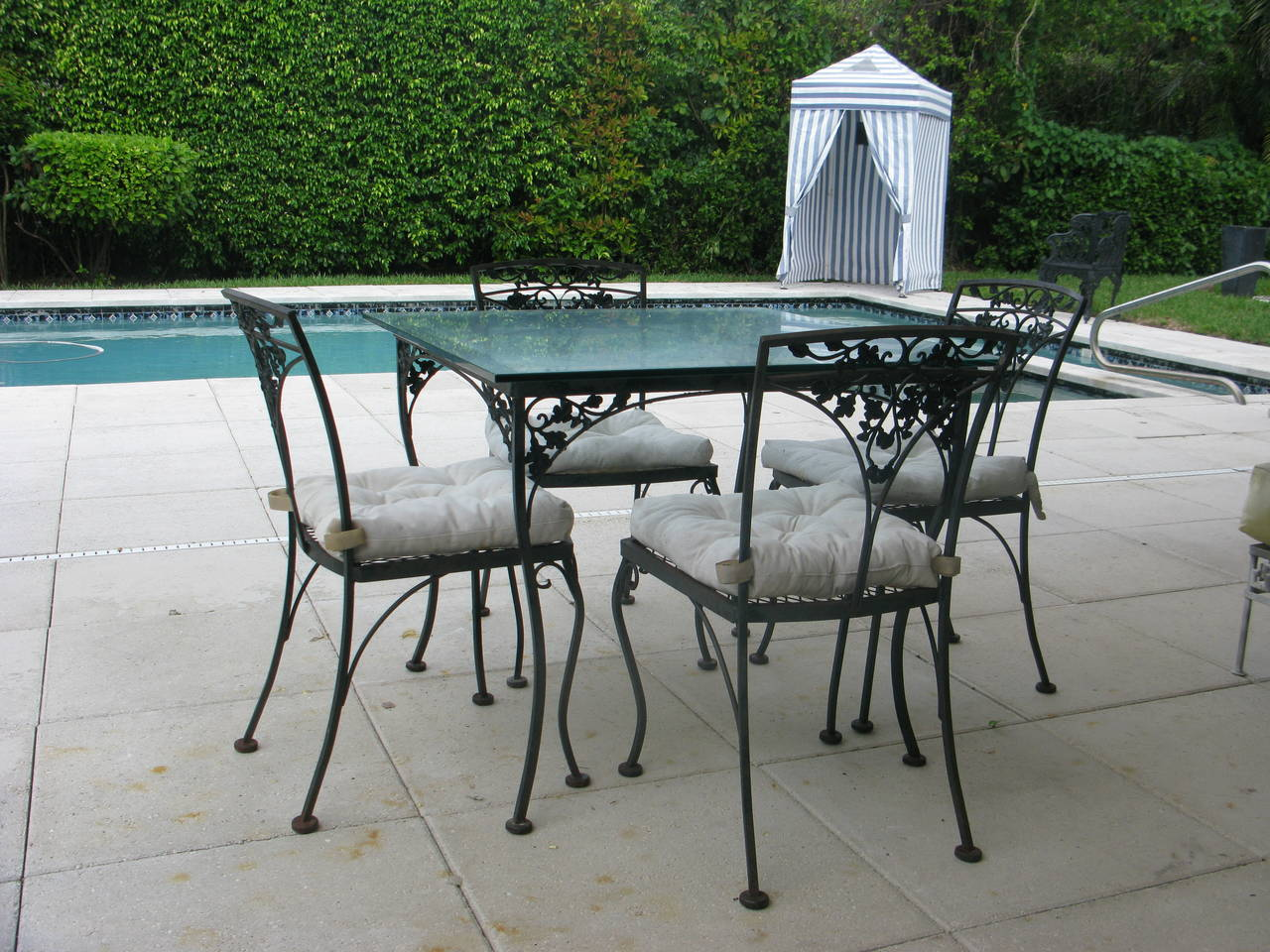 outdoor patio wrought iron chair pad folding with side table salterini large greek key garden ottoman or bench for sale at 1stdibs