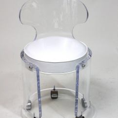 Clear Acrylic Swivel Office Chair Pop Up Recliner Chairs 1970 Lucite Vanity Glam In White Leather Charles