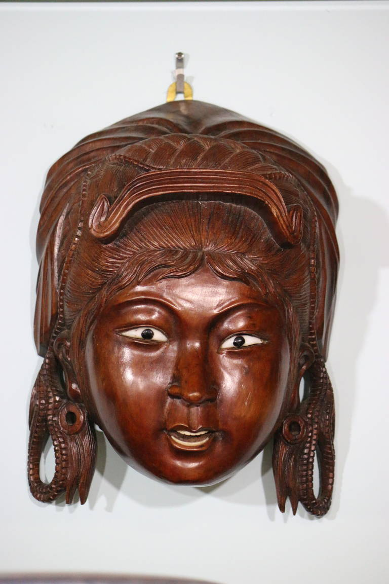 19th Century Set Of Wood Carved Chinese Masks From A