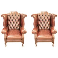 Tufted Leather Wingback Chair Hanging Black Friday Pair Of English Chairs With Claw