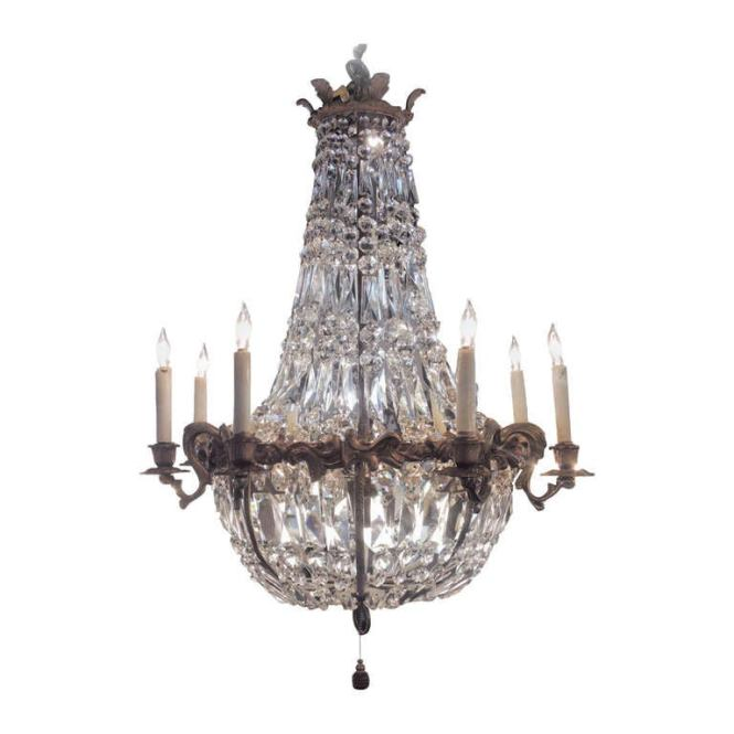 Bronze And Crystal Basket Chandelier With Art Nouveau Detail 1