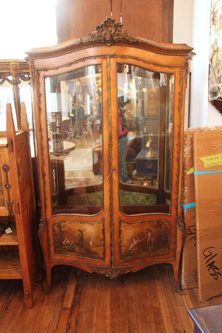 19th Century Antique TwoDoor French Display Cabinet or
