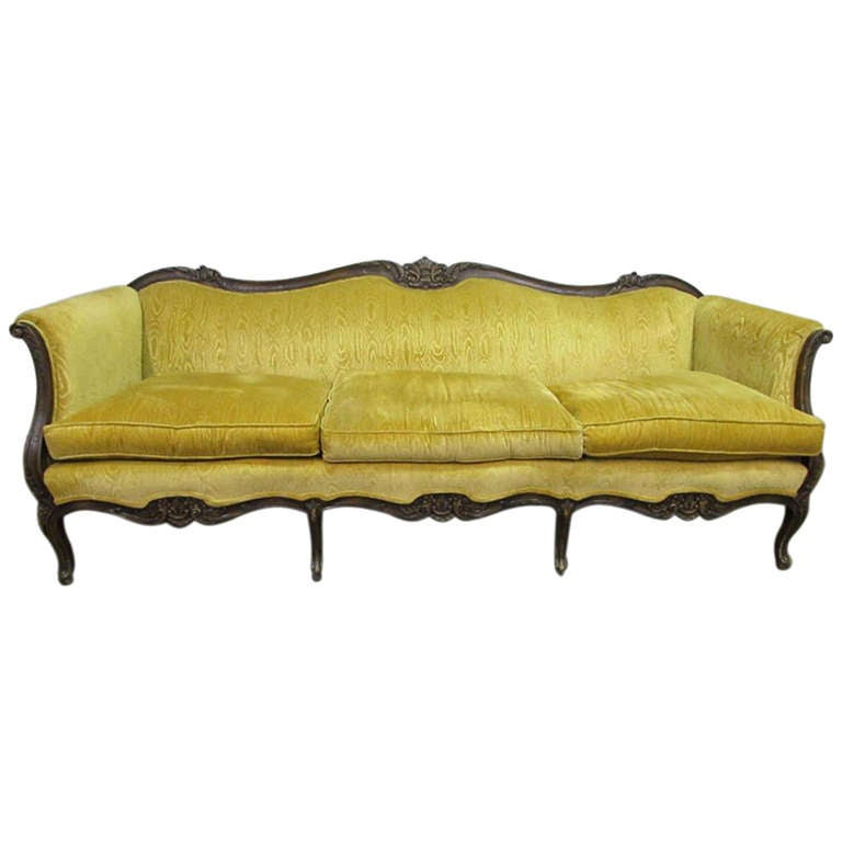 blue leather sofa canada the company cape town victorian style carved with canary yellow upholstery ...