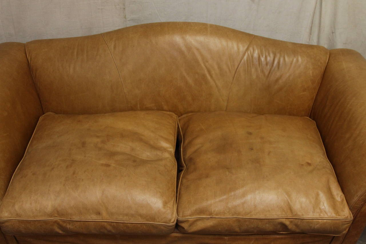 baker leather sofas lobby sofa furniture 1950s oversized french with down filled ...