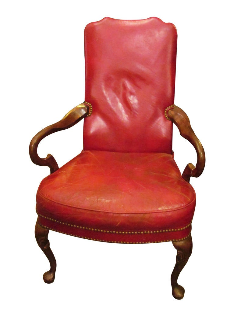 brown leather slipper chair cantilever dining studded red at 1stdibs