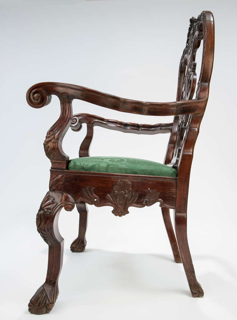 kensington leather chair recliner cushions outdoor mexican colonial arm c. 1775-1810, in the chippendale style for sale at 1stdibs