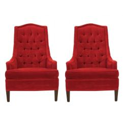 Red Chairs For Sale Orange Patio Excellent Pair Of Tufted Velvet Classic Regency Arm Or Club