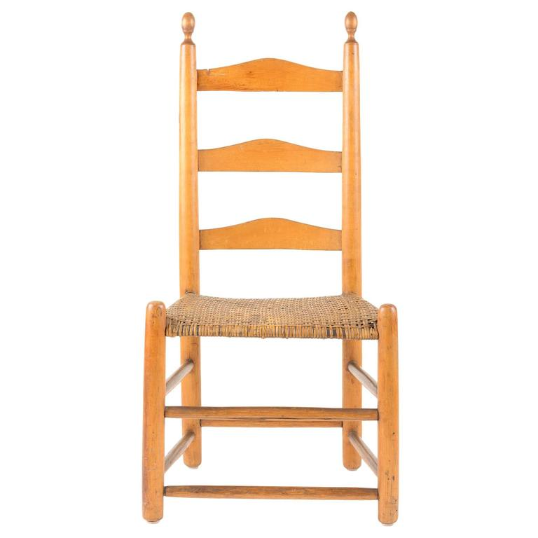 ladder back chair difference between shower and tub transfer bench 18th century american pine with original woven seat for sale