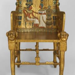 Throne Chair For Sale Steel Covers Late 19th C Egyptian Revival Polychrome Carved