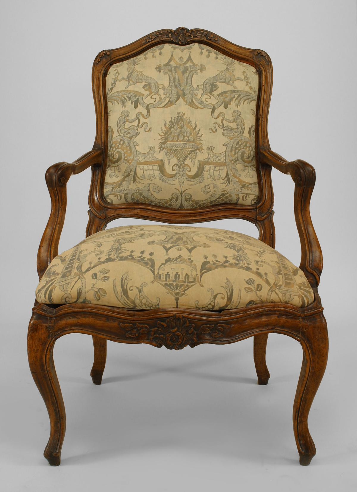 Set of 10 French Louis XV Style Side Chairs with Fortuny