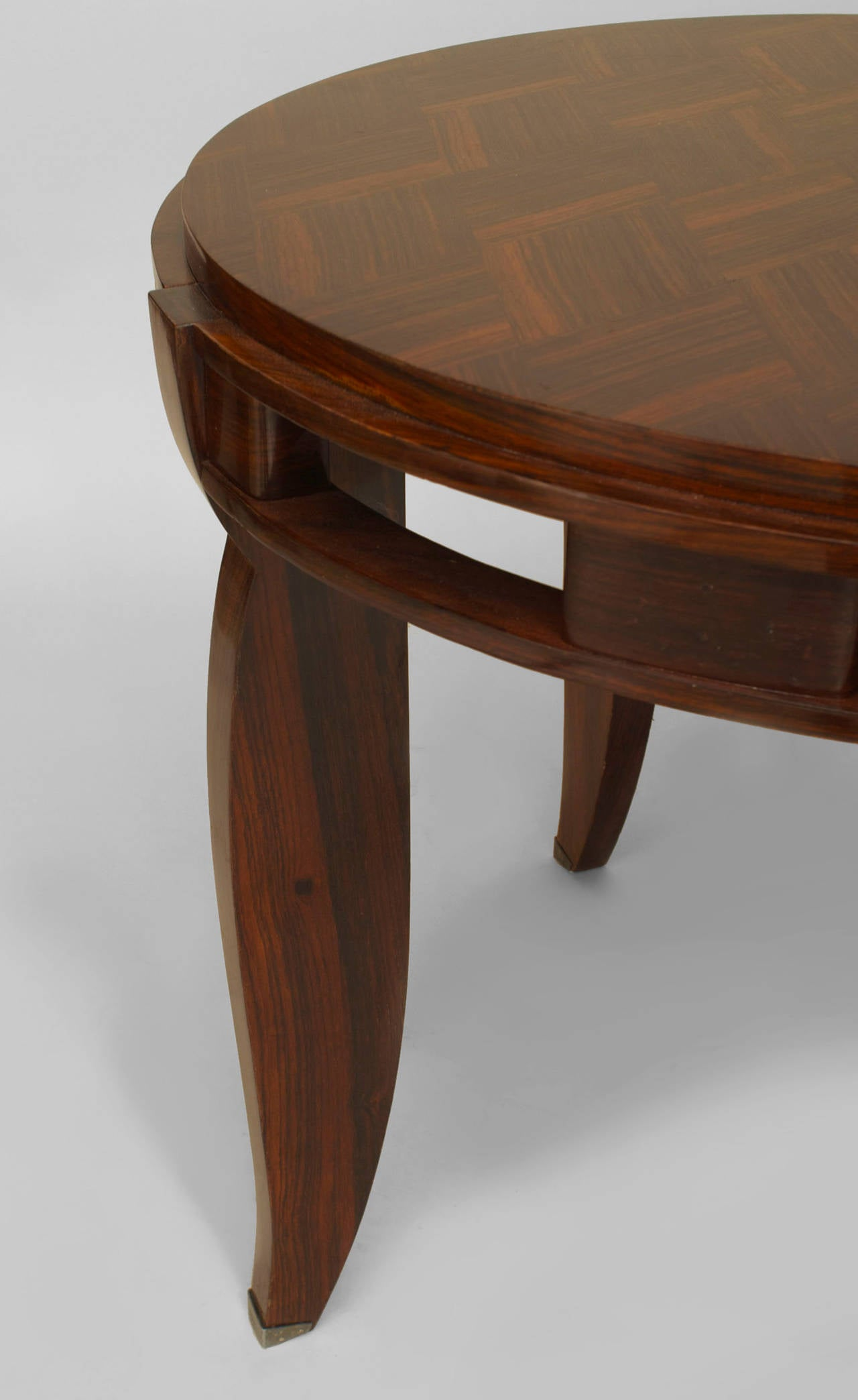 French Art Deco Rosewood And Silver End Table Attributed