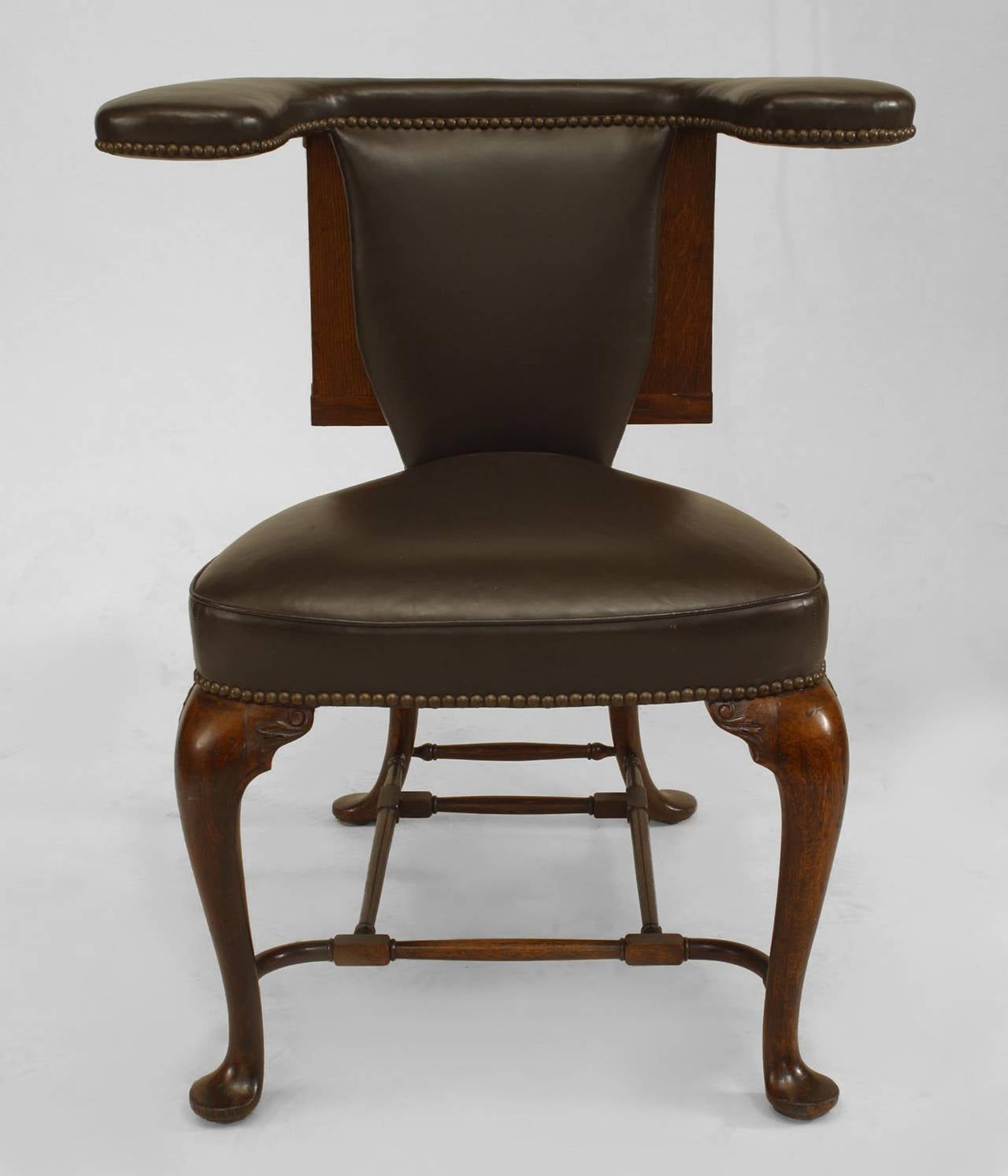 Reading Chairs 19th Century English Queen Anne Style Leather Upholstered
