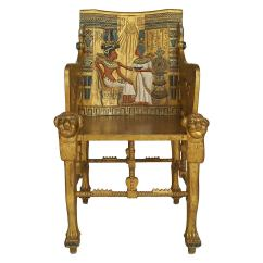 Throne Chair For Sale Black And White Arm Late 19th C Egyptian Revival Polychrome Carved