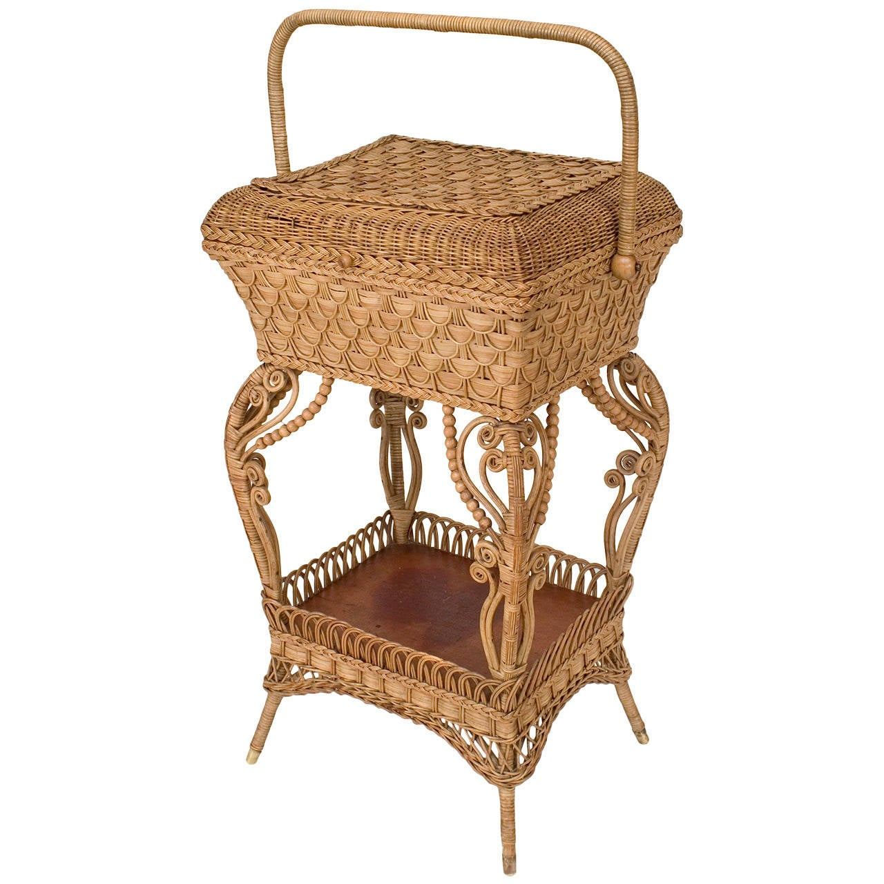 heywood wakefield wicker chairs revolving wire chair late 19th c american sewing table by