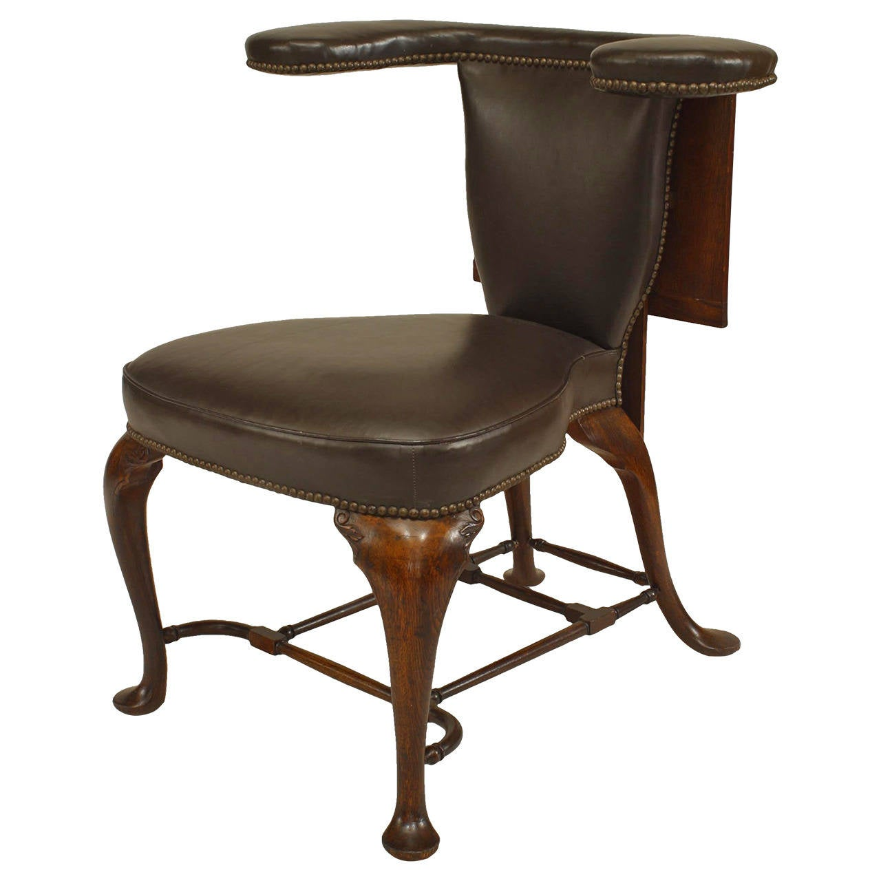 queen anne style chair tommy bahama fold up instructions 19th century english leather upholstered