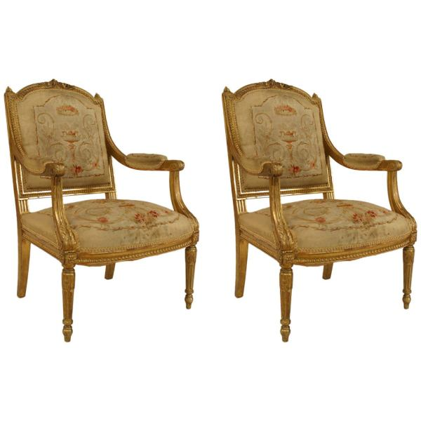 Chair and Louis XVI Style Arm Chairs