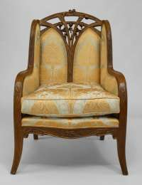 French Art Nouveau Carved Bergere by Louis Majorelle For