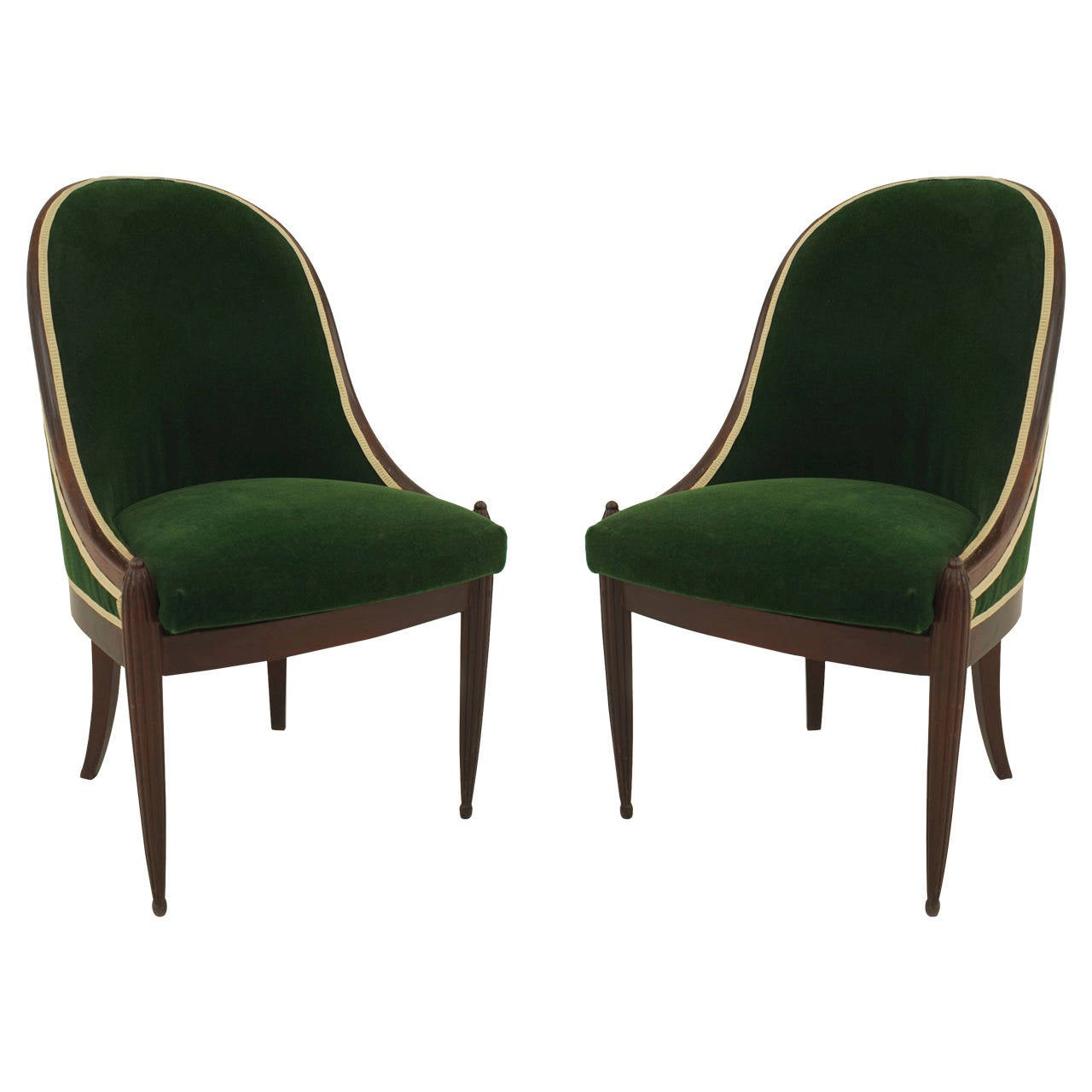 Artistic Chairs Pair Of French Art Deco Green Velvet Upholstered Mahogany