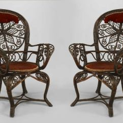 Fan Back Wicker Chair Wedding Chairs Hire London Pair Of 19th C. Filigree And Red Velvet Arm By Colt For Sale At 1stdibs