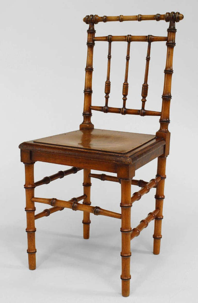 Six French Turnofthecentury Faux Bamboo Side Chairs For