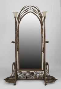 French Art Deco Wrought Iron Cheval Mirror Attributed to ...