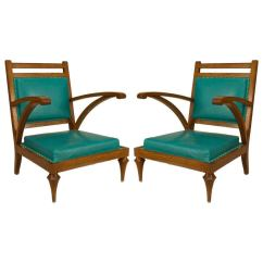 Turquoise Chairs Leather Ikea Henriksdal Chair Pair Of Oak And Slipper For Sale At 1stdibs
