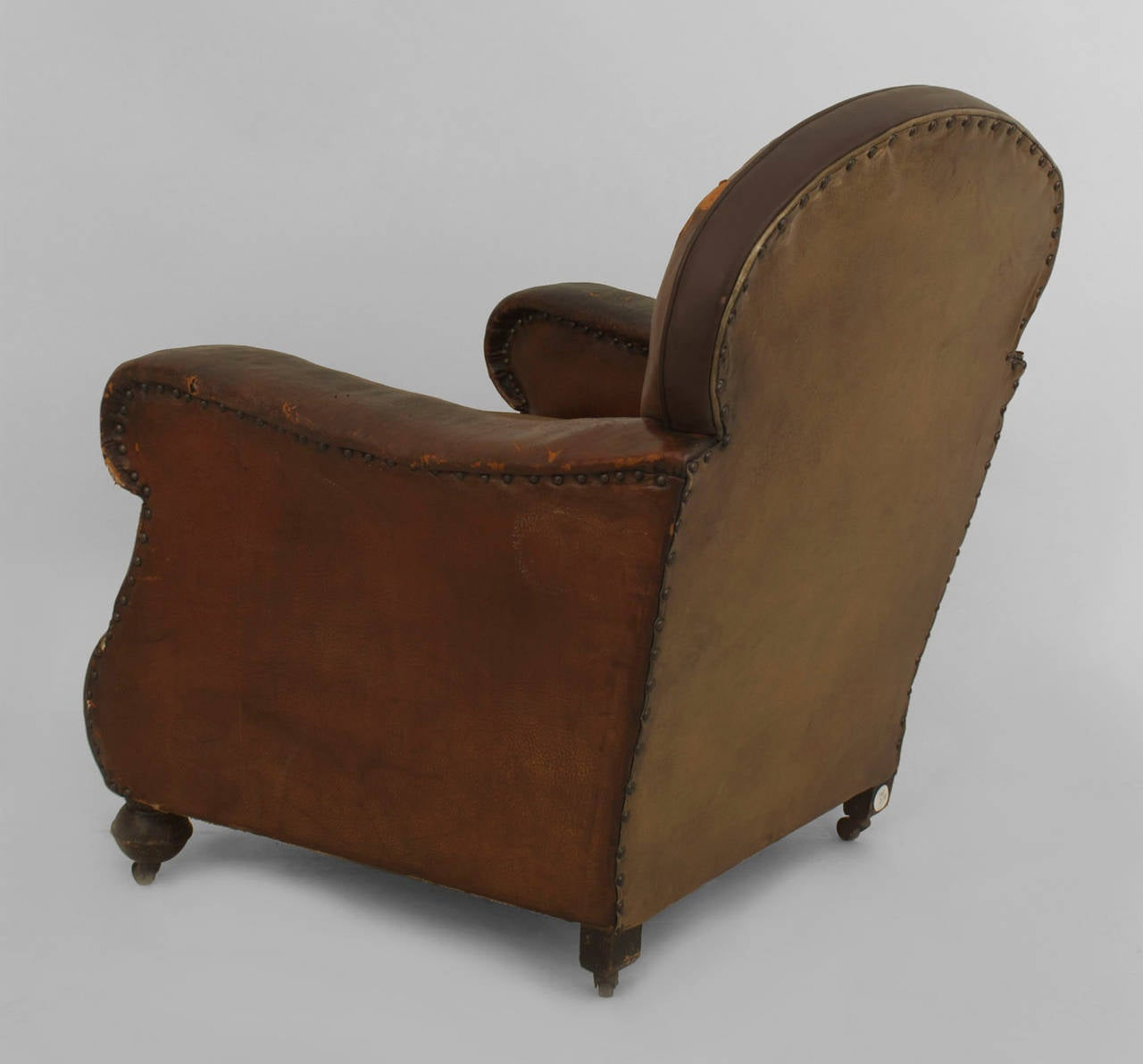 oversized leather chair kids barber pair of 19th century english brown club