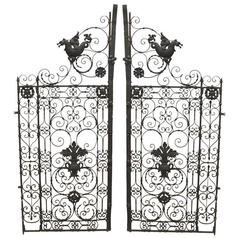 Pair of 19th Century Renaissance Style Iron Gates For Sale