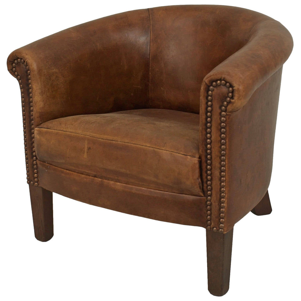 Small Leather Club Chair English Georgian Style Leather Round Back Child 39s Club