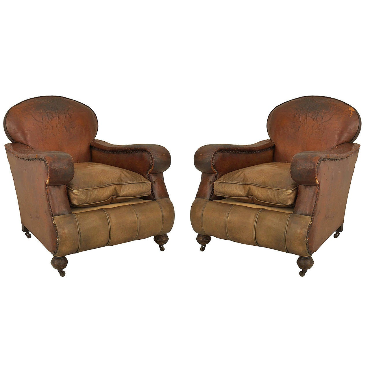 tan leather chair sale white folding covers ebay pair of 19th century english oversized brown club