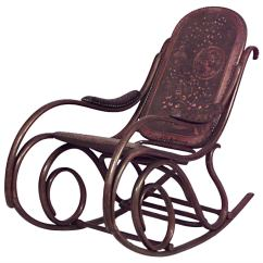 Bent Wood Rocking Chair Unusual Corner Late 19th C Vienna Secession Bentwood By Thonet For Nineteenth Century Austrian Scroll Design Finished With Embossed Leather Upholstery Signed